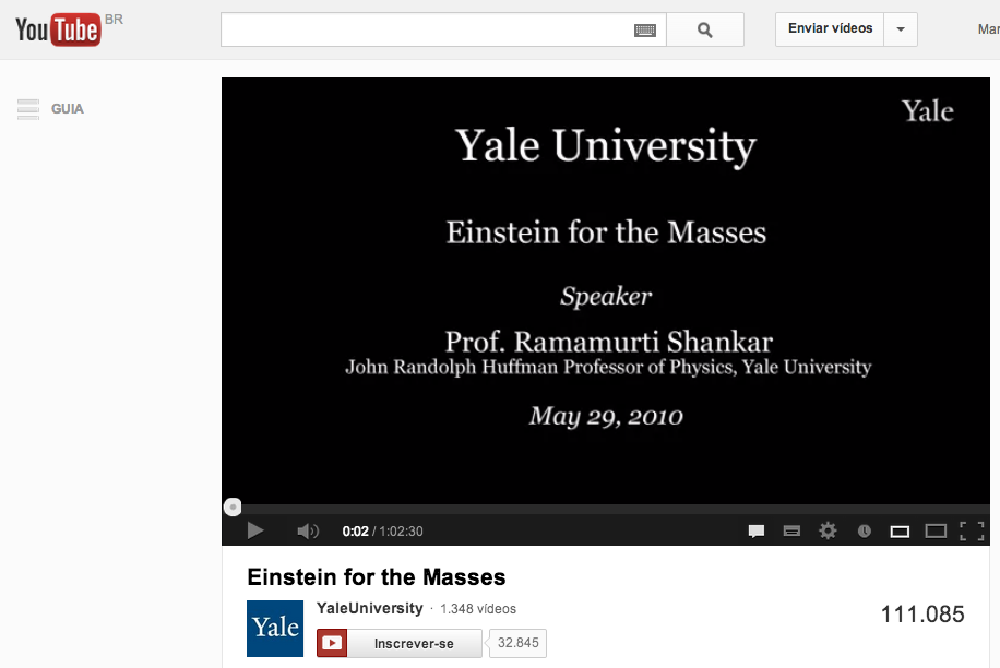 """Vídeo do curso """"Einstein for the masses"""", de Yale, disponível no YouTube"""