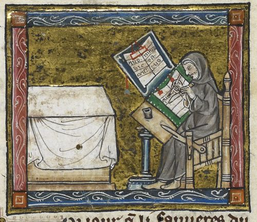 Detail of a miniature of a hermit at work on a manuscript, from the Estoire del Saint Graal, France (Saint-Omer or Tournai?), c. 1315 – 1325, Royal MS 14 E III, f. 6v -http://britishlibrary.typepad.co.uk/digitisedmanuscripts/2014/06/the-burden-of-writing-scribes-in-medieval-manuscripts.html#sthash.Bn9DoJgp.dpuf